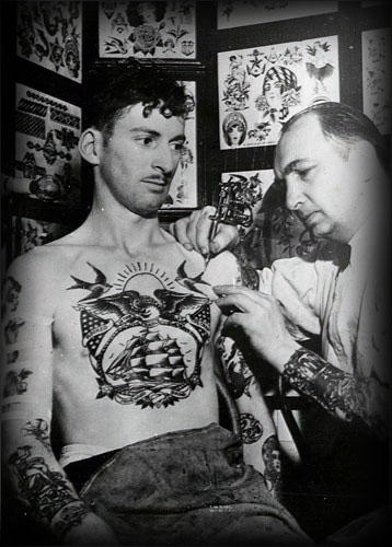 Mens Vintage Tattoo Design Inspiration On Chest