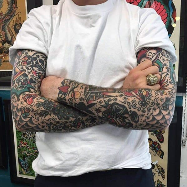Mens Vintage Tattoo Ideas Arm Sleeves