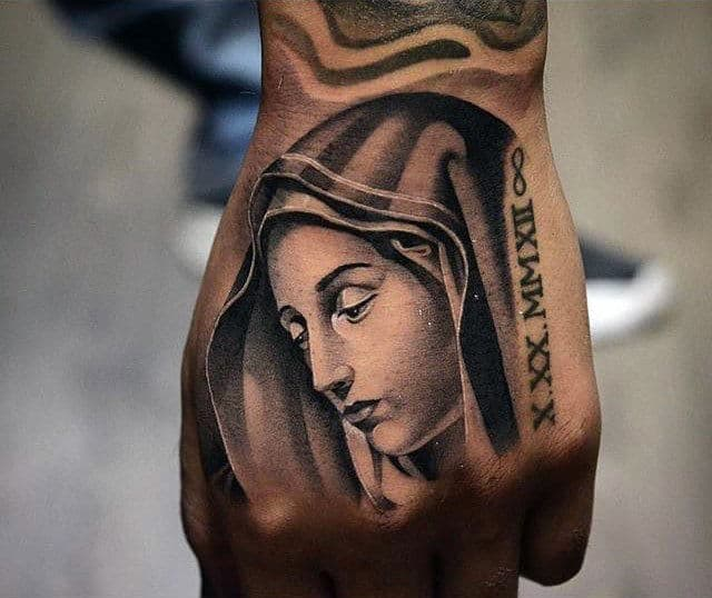 Mens Virgin Mary Hand Tattoo With Roman Numerals