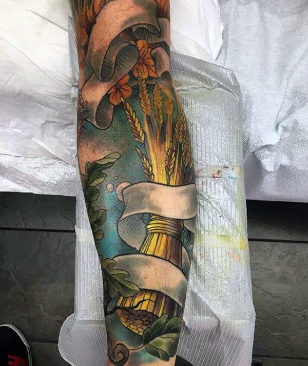 Mens Virgo Wheat Sleeve Tattoos