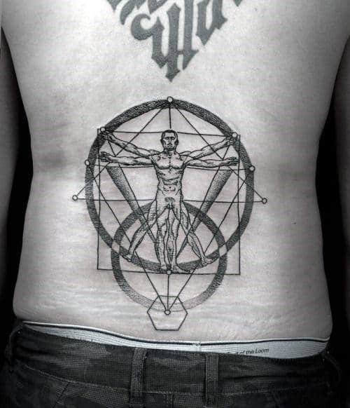 Mens Vitruvian Man Geometrical Lower Back Tattoos
