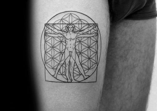 Mens Vitruvian Man Thigh Tattoo With Flower Of Life Pattern Design