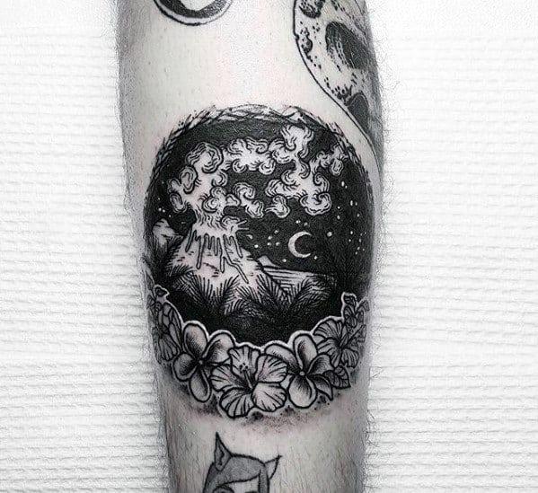 Mens Volcano Tattoo Design Ideas On Forearm