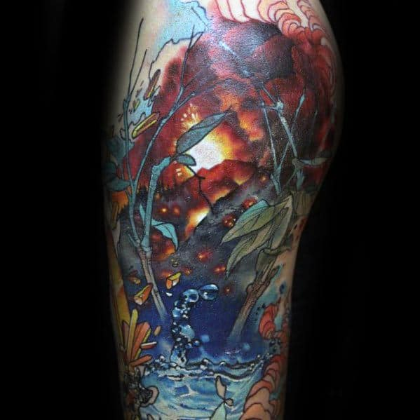 Mens Volcano Tattoo Design Inspiration Half Sleeve