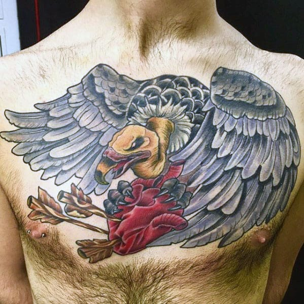 Mens Vulture Heart Chest Tattoo Ideas