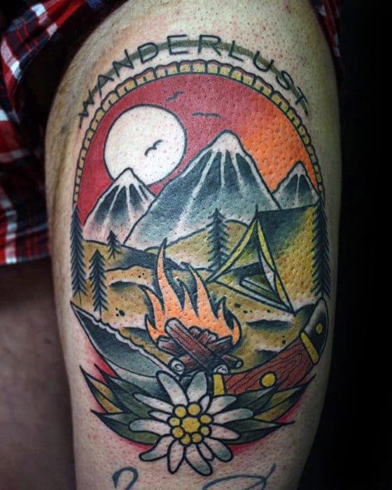 Mens Wanderlust Campfire Nature Thigh Tattoo