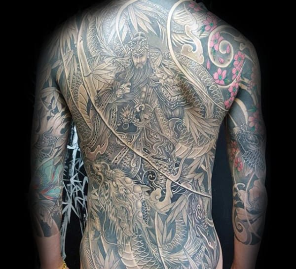 Mens Warrior Fighting Dragon Full Back Japanese Tattoo