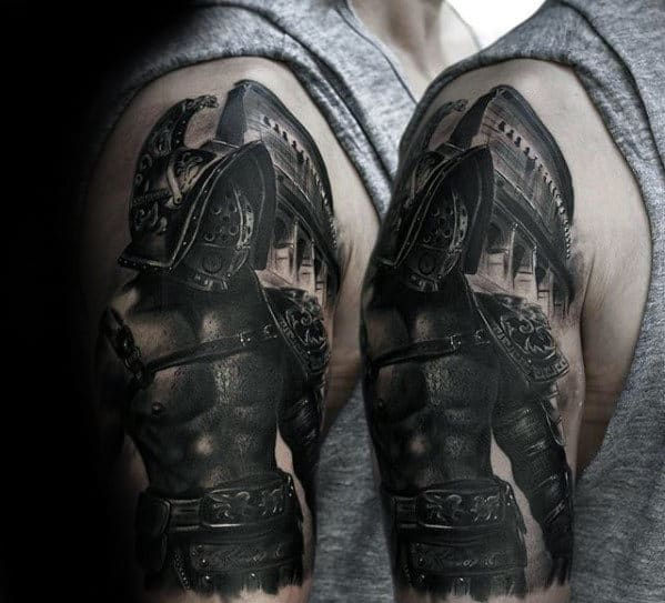 Mens Warrior In Battle Plate Armor 3d Arm Tattoo