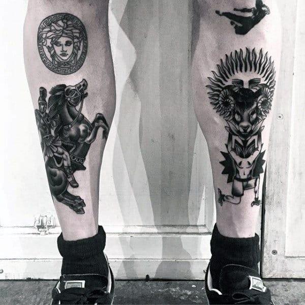 Mens Warrior Shin Tattoo Ideas