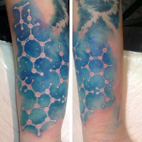 Mens Water Color Negative Space Chemistry Tattoo Ideas On Forearm