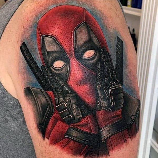 Mens Watercolor Background Deadpool Upper Arm Tattoos