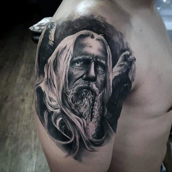 Mens Watercolor Background Peaceful Odin Upper Arm Tattoo