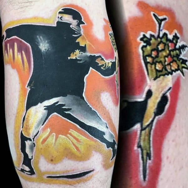 Mens Watercolor Banksy Man Throwing Flowers Colorful Tattoo Ideas On Arm