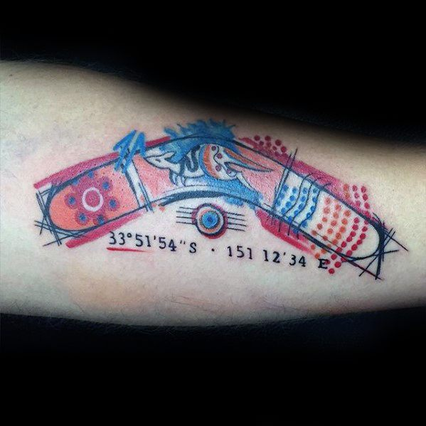 Mens Watercolor Boomerang Arm Tattoo Ideas With Kangaroo Design
