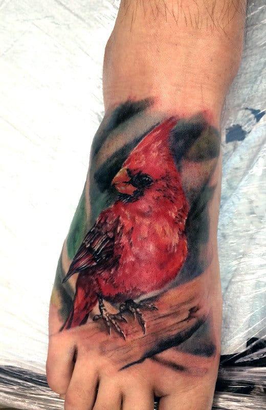 Mens Watercolor Cardinal Foot Tattoos