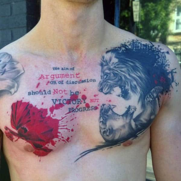 Mens Watercolor Chest Tattoo Poppy Flower With Lion And Quote Design