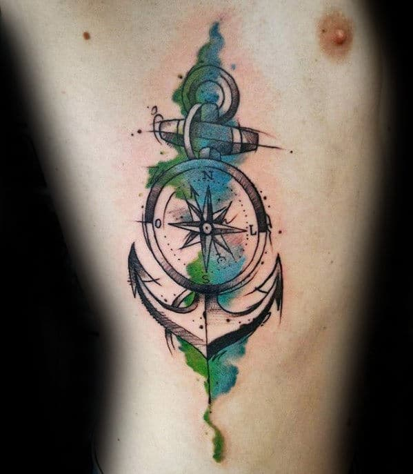 Mens Watercolor Compass Anchor On Rib Cage Side