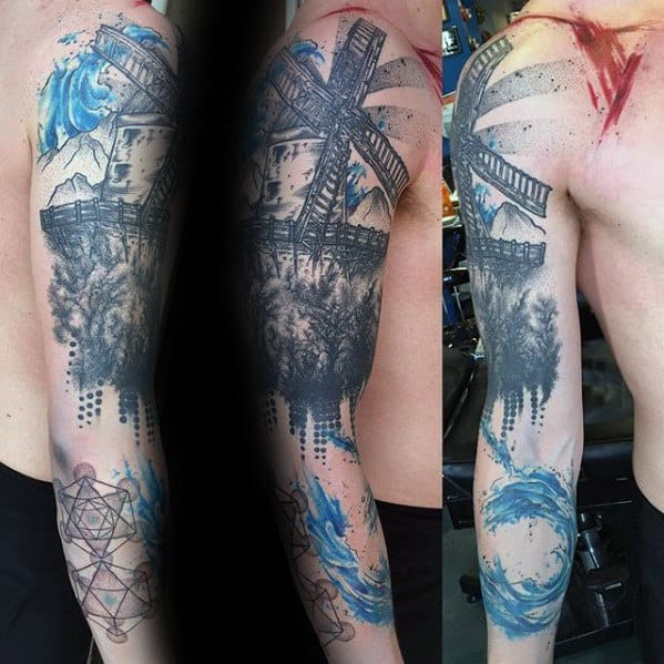Mens Watercolor Full Arm Windmill Tattoo Ideas