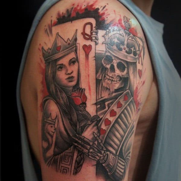 Mens Watercolor King And Queen Playing Card Upper Arm Tattoo