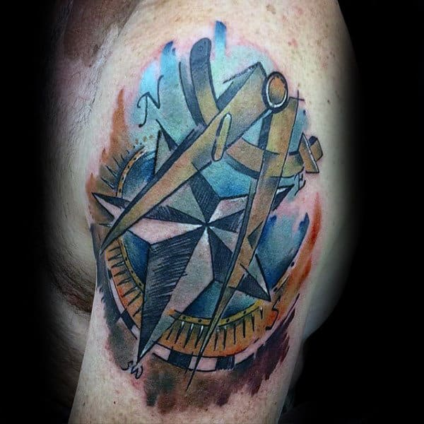 Mens Watercolor Nautical Star Upper Arm Tattoo