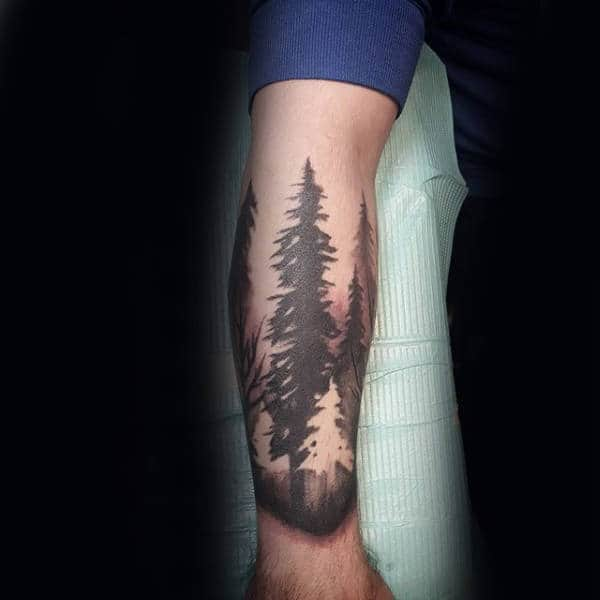 Mens Watercolor Negative Space Tree Forest Forearm Tattoo Ideas