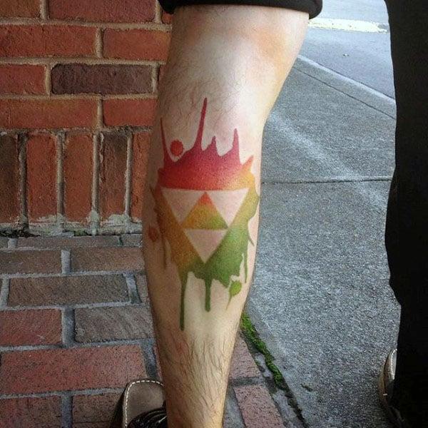 Mens Watercolor Negative Space Triforce Leg Calf Tatto Designs