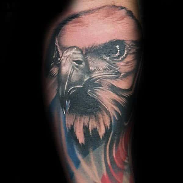 Mens Watercolor Patriotic Eagle Flag Tattoo On Arm