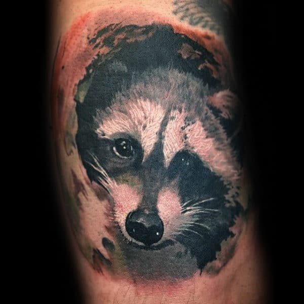 Mens Watercolor Raccoon Arm Tattoo