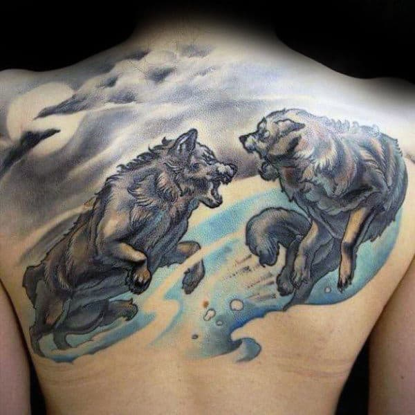 Mens Watercolor Running Wolves Back Tattoo Designs