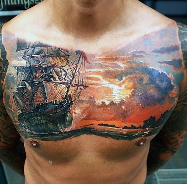 Mens Watercolor Sailing Ship And Sunset Chest Piece Tattoo