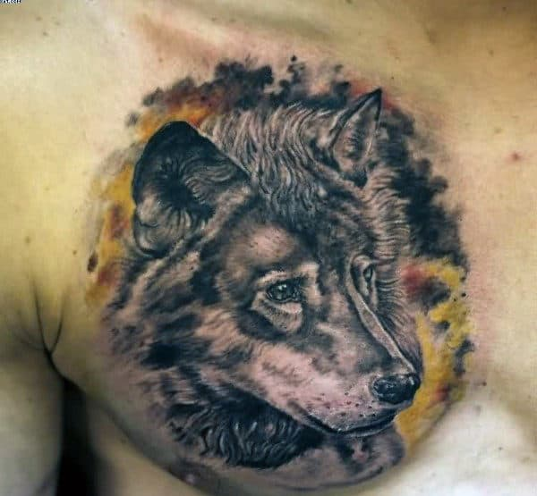 Mens Watercolor Shaded Wolf Upper Chest Tattoos