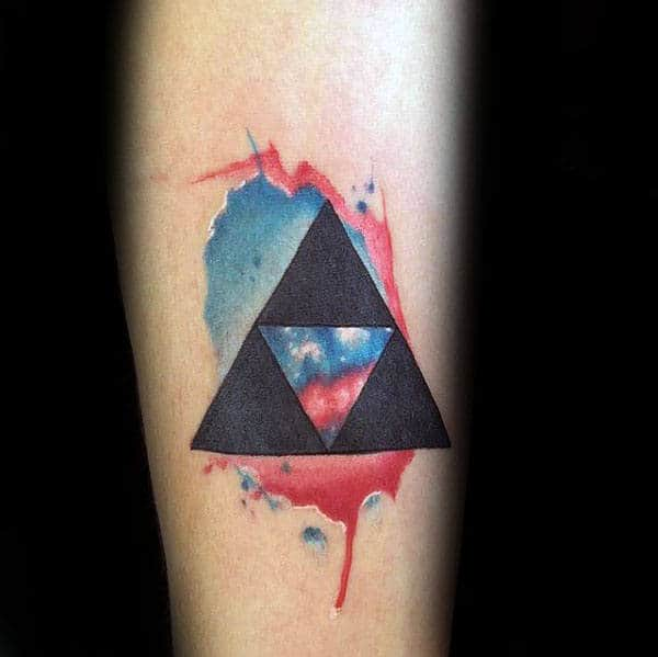 Mens Watercolor Triforce Red And Blue Ink Forearm Tattoo