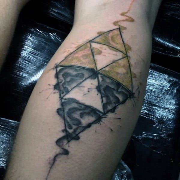 Mens Wateroclor Triforce Leg Calf Tattoos