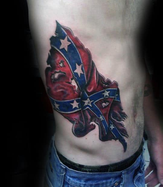 Mens Waving Confederate Rebel Flag Rib Cage Side Tattoo