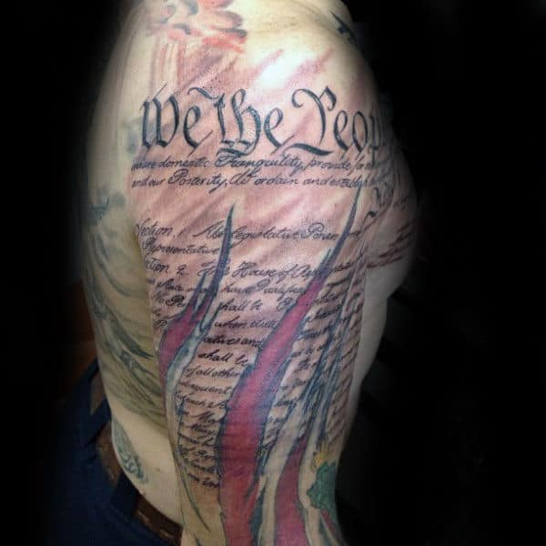 Mens We The People Sleeve Tattoo Design