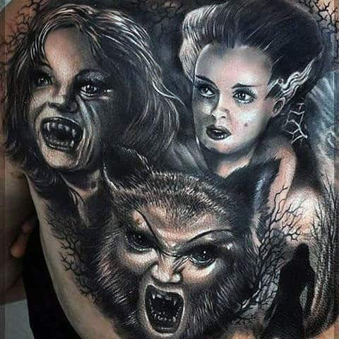 Mens Werewolf And Vampire Back Tattoos