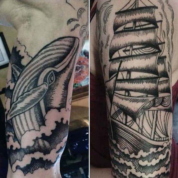 Mens Whale With Sailing Ship Woodcut Arm Tattoo