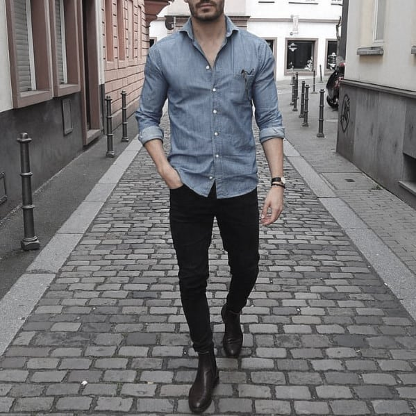Mens What To Wear With Black Jeans Outfits Styles Light Blue Shirt