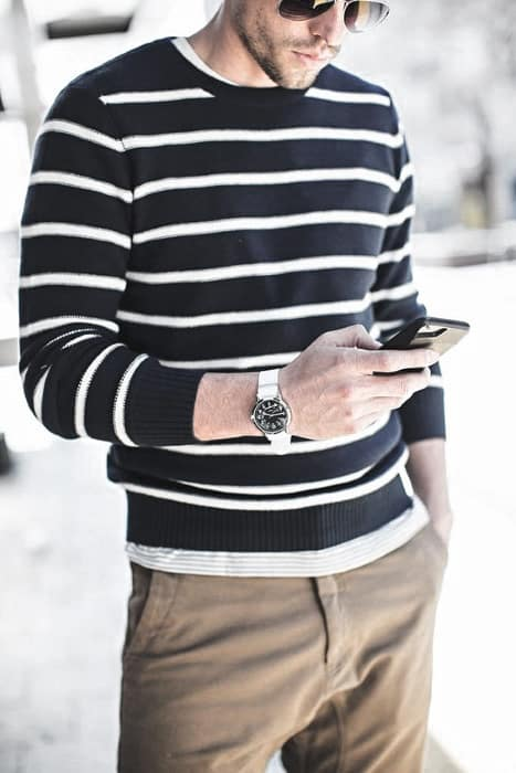 Mens What To Wear With Khaki Pants Outfits Styles Striped Blue Sweater