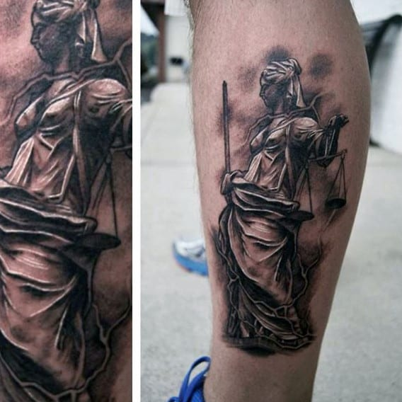 Mens White And Black Ink Lady Justice Leg Calf Tattoo Ideas