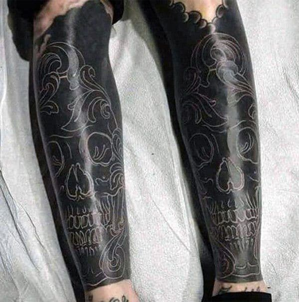 Mens White Ink Over Black Skull Tattoo Cover Up Ideas Leg Sleeve