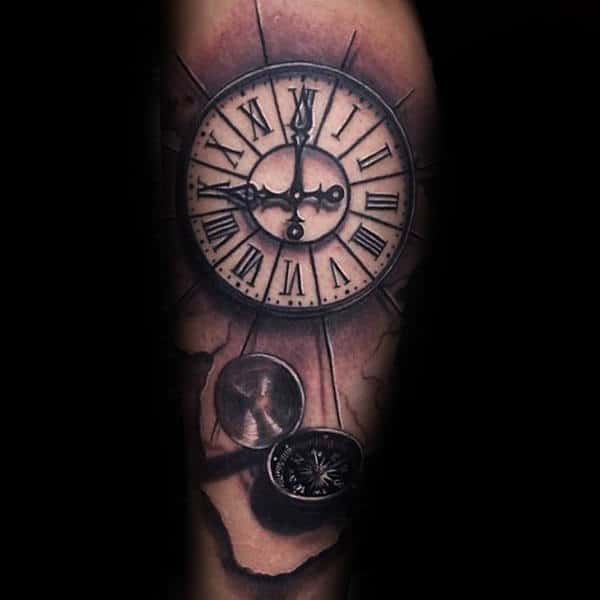 Mens White Ink Roman Numeral Clock Tattoo With 3d Compass On Arm