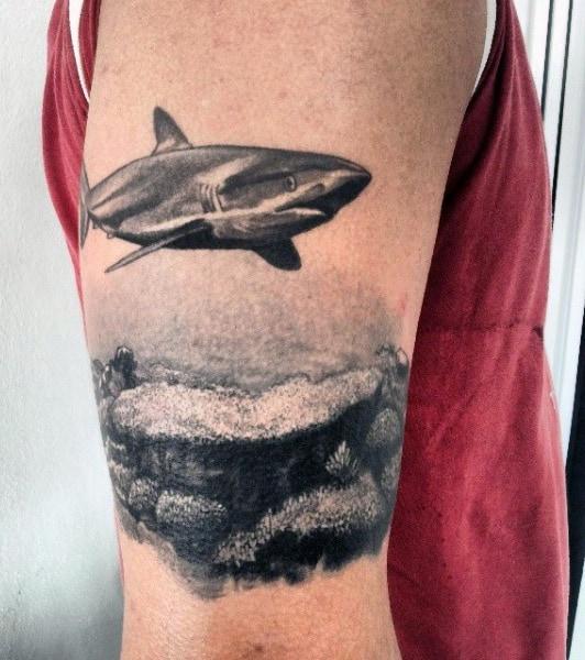Small Men's White Shark Tattoo