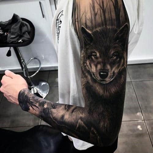 Men's White Wolf Tattoo