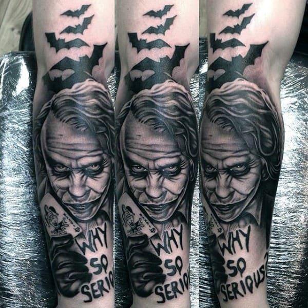 Mens Why So Serious Joker Full Leg Tattoo Ideas