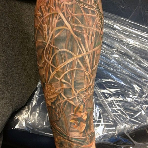 Mens Wilderness Camouflage Arm Tattoo
