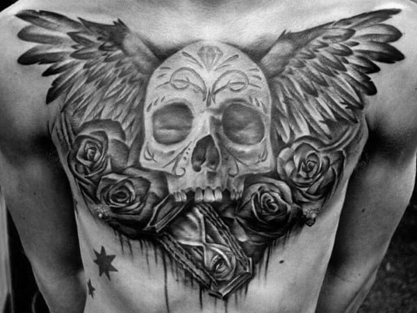 Mens Wing Day Of The Dead Skull Chest Tattoos