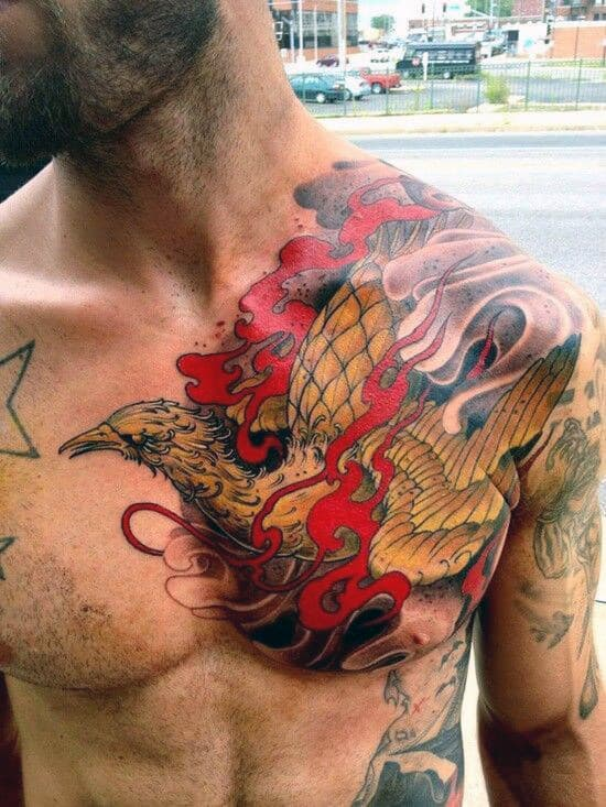 Men's Wings Chest Tattoo