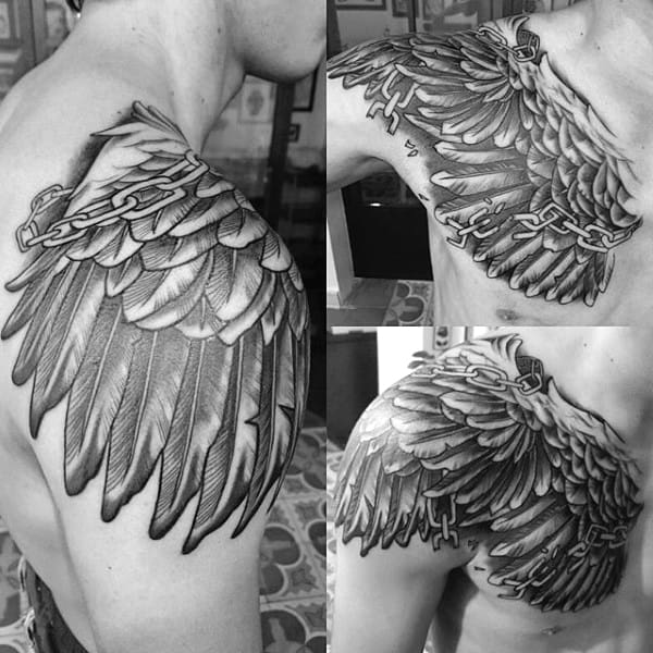 Mens Wings Tattoo With Broken Chains