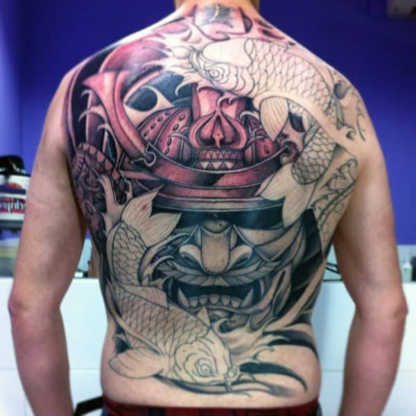 Mens Wise Samurai Mask And Koi Carp Back Tattoo
